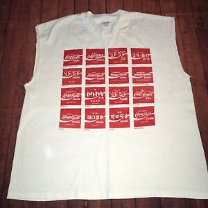 Vtg Coca Cola T-shirt XL Foreign Labels Languages Coke Sleeveless