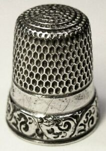 Antique Simons Bros Sterling Silver Thimble Chased Scrolls C1890s