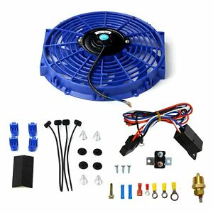 12 Inch Electric Slim Cooling Push Radiator Fan Fin W probe Thermostat Kit Blue