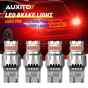 Auxito 7443 7440 Red Led Strobe Flash Blinking Brake Tail Light Parking Bulb 4pc