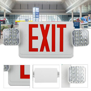 Led Red Exit Sign Emergency Light Adjust Two head Battery Backup Combo Lamp G1c8