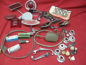 Vintage Lot Of Assorted Auto Parts Spark Plugs Mirrors Knobs