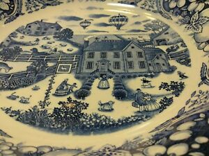 Japanese Bowl Plate Dish Blue And White Pattern 14 Inch