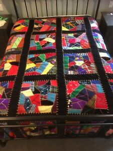 Vintage Hand Embroidered Crazy Quilt