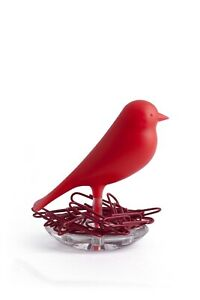 Paper Clips Dispenser Magnetic Holder Storage Qualy Nest Sparrow Organizer Red