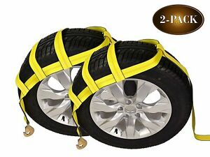 Tow Dolly Basket Straps With Twisted Snap Hooks 2 pack Car Wheel Straps