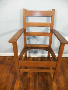 1910 Lifetime Mortised Arm Chair Mission Tiger Oak Arts Crafts Stickley Era