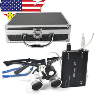 Dental Loupes 3 5x420mm Surgical Optical Glass Led Head Light Lamp Aluminum Case