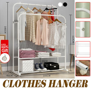 Usa Heavy Duty Clothing Clothes Garment Retractable Rack Hanger Shelf double Rod