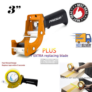 3 Inch Tape Gun Dispenser Fast Reload Packing Sealing Cutter Two Rollers