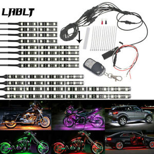 12pcs Motorcycle Rgb 120led Waterproof Under Glow Lights Strip Neon Kit Remote