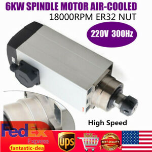 6kw Er32 Air cooled Spindle Motor 300hz 18000rpm For Cnc Woodwork Router Machine