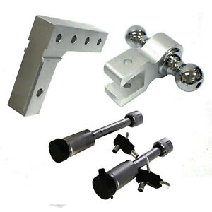 Aluminum Dual Ball 6 Drop Adjustable Trailer Tow Towing Hitch W 2pc Hitch Lock