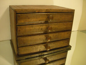 Early Primitive Antique Small 4 Drawer Chest Cabinet 10 3 4 Tall