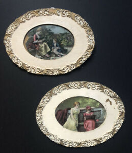 Rare Pair Handmade Carved Vintage Paintings Gold Cream Wood Antique Frames