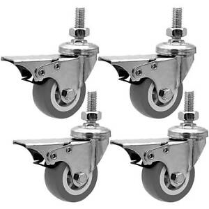 4 Pack 2 Inch Stem Casters Swivel With Front Brake Grey Pu Caster Wheels