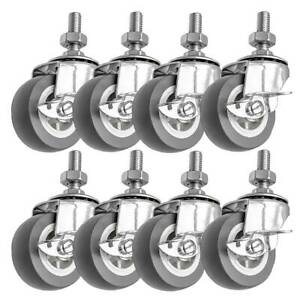 8 Pack 2 Inch Stem Casters Swivel With Side Brake Grey Pu Caster Wheels