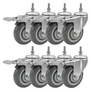 8 Pack 4 Inch Stem Casters Swivel With Brake Grey Pu Caster Wheels