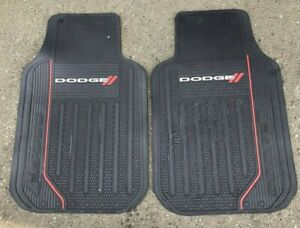 2 Dodge Dart Logo Floor Mats Front All Weather Rubber Black And Red Oem