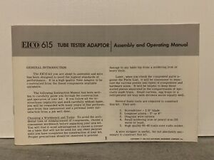 Original Eico 615 Tube Tester Adapter Assembly Operating Manual Rare