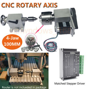 4th Axis A Axis rotary Cnc Router Rotational Axis 100mm 4 jaw K12 Chuck Nema23