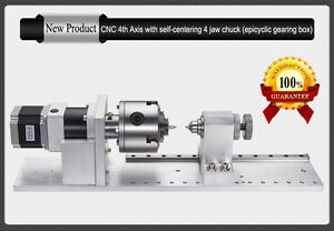 4th A Rotary Axis Planetary Gearbox 4jaw 80mm Chuck Cnc Router Rotational Axis