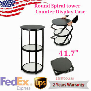 41 7 Round Spiral Counter Trade Show Tower Display Case Stand W Shelves Panels