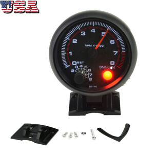 3 75 Car Universal Tachometer Tacho Gauge Inter Shift Light 0 8000 Rpm T9q6