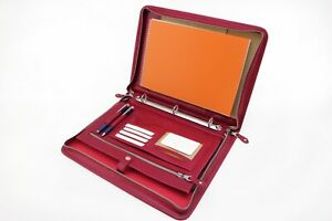 Leather 3 Ring Binder Red Leather Folio A4 With Handle