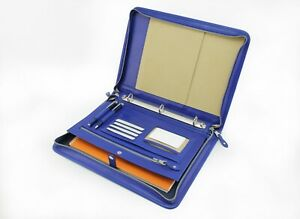 Zipper Leather Folio A4 Document Case 3 Ring Binder Blue