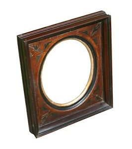 Antique Victorian Walnut Picture Frame With Oval Opening