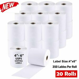 20 Roll 4x6 Direct Thermal Shipping Mail Labels 350 roll Zebra 2844 Eltron Zp450