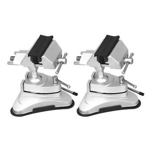 2x Bench Vise Working Clamp Rotating Aluminum Alloy Rubber Suction Base