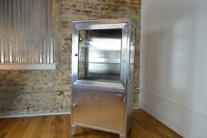 Vintage Industrial Mid Century Stainless Steel Medical Cabinet By Blinkman