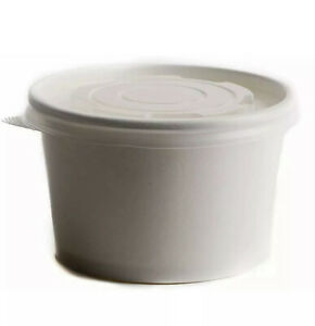 25 Count 8 Oz Disposable White Paper Soup Containers With Plastic Lids