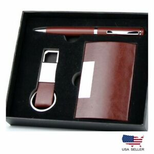 Leather Business Card Case Holder Pen And Keychain Luxury Gift Set Brown Color