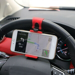 1 Car Interior Gps Phone Holder Mount Stand Steering Wheel Clip Accessories Red