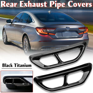 2x Titanium Rear Cylinder Exhaust Pipe Tip End Cover Trim For Honda Accord 2018