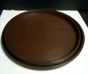 Lot Of 6 Round Brown Plastic Trays Used Food Drinks Dinner Serving Waiters Cafe