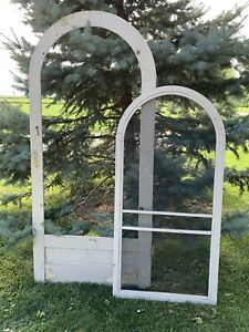 Antique Vintage Arched Top Wood Wooden Screen Door