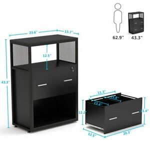 Functional 2 Drawer File Cabinet With Lock Open Storage Shelf For Home Office
