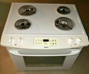Kenmore 220 Electric Drop In Stove Range Oven Hood Kitchen White pick Up Set