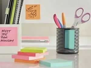 Post it Note Dispenser W Pen Holder Contmp Vertical Black With Grey Abs 330 b