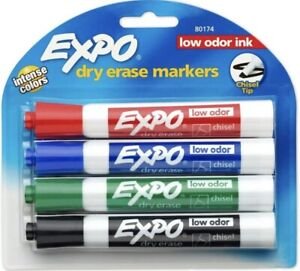 Expo Low odor Dry Erase Markers Chisel Tip Assorted Colors 4 Ea