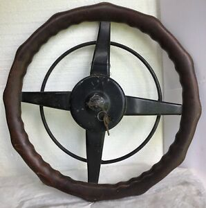 Antique locking Wood Steering Wheel Ford Model A T Vintage Auto Chevy Old Car