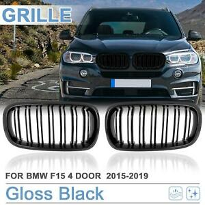 Gloss Black Front Kidney Grille Grill For Bmw F15 X5 2015 2019 4 D Double Line