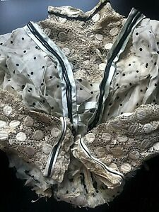 Antique Lace Silk Ribbon Button Trim Blouse Fabric For Study Doll Clothing
