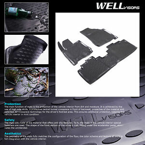 Wellvisors 3d Molded Rubber Floor Mats Front Rear For Cadillac Srx 2010 2016