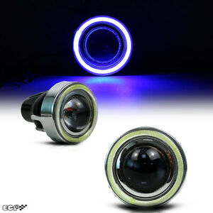 Hid Xenon Led 3 15 Projector Fog Light Lamps W Blue Halo Angel Eyes Rings