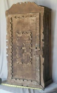 Antique Primitive Hanging Wall Cupboard Grain Painted Cabinet Ca 1850 Carved
